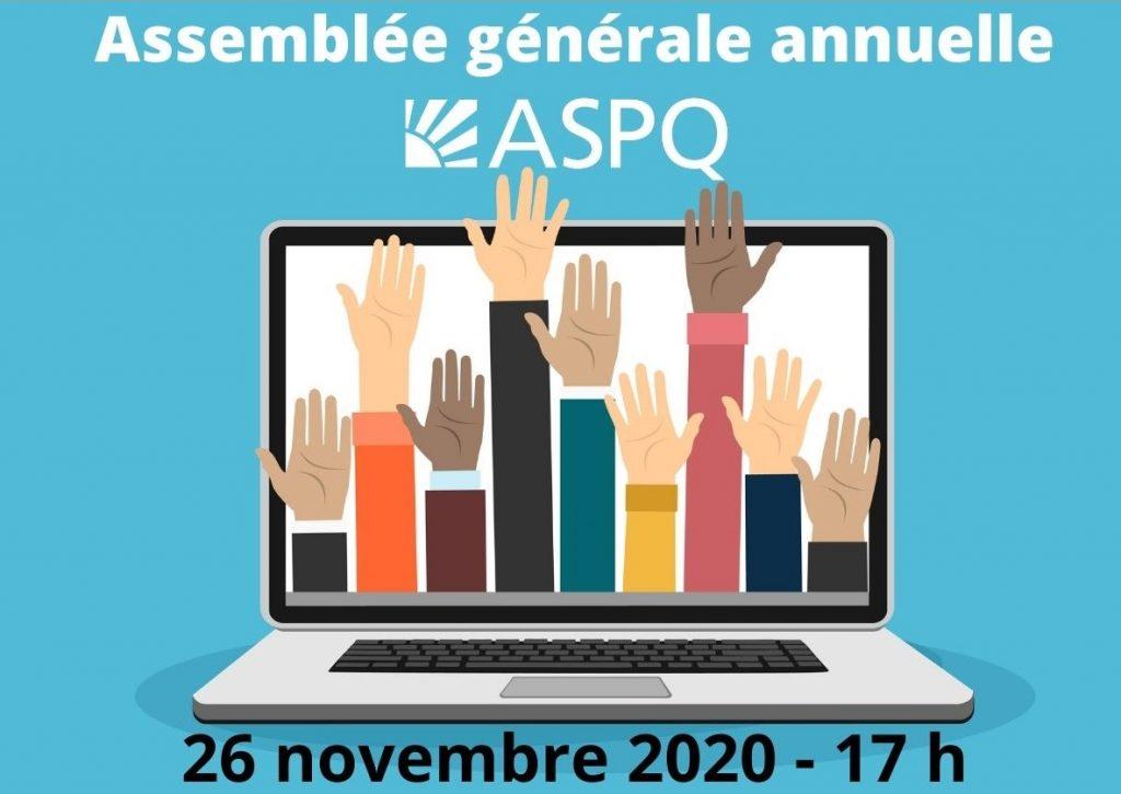 Assemblée générale annuelle de l'ASPQ – 26 novembre, 17 h