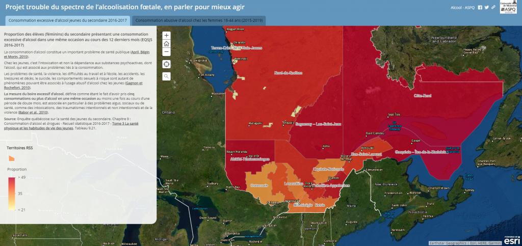 Cartographie des données sur la consommation excessive d'alcool au Québec